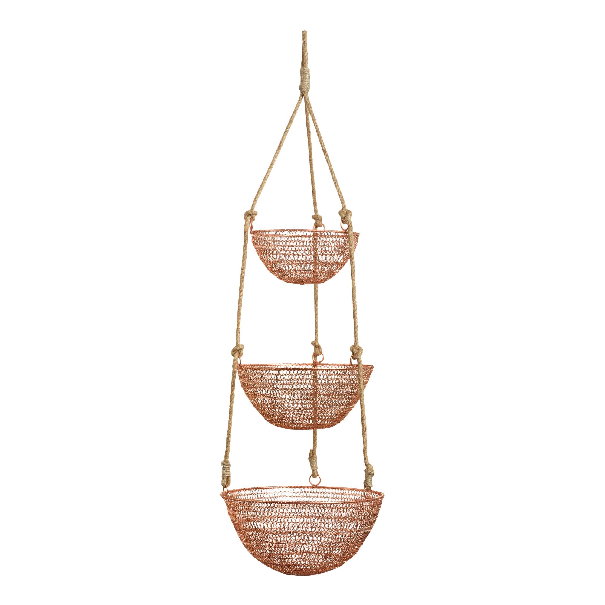 Empty Metal Gift Baskets : Copper and rope tier hanging basket world market