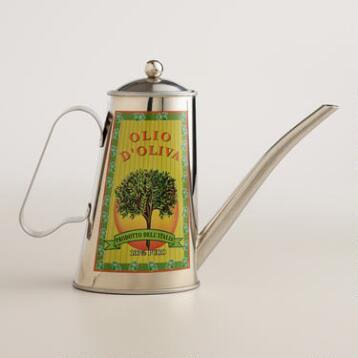 Brushed Stainless Steel Olive Oil Can