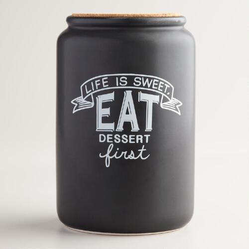 "Chalk ""Life Is Sweet"" Ceramic Cookie Jar"