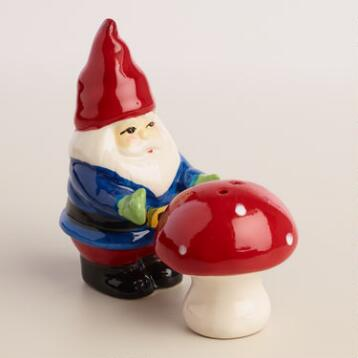 Gnome Holding Toadstool Salt and Pepper Shaker Set