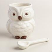 White Ceramic Owl Salt Cellar