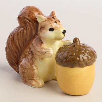 Squirrel Holding Acorn Salt and Pepper Shaker Set