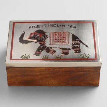 Elephant Wood and Metal Indian Tea Box Set