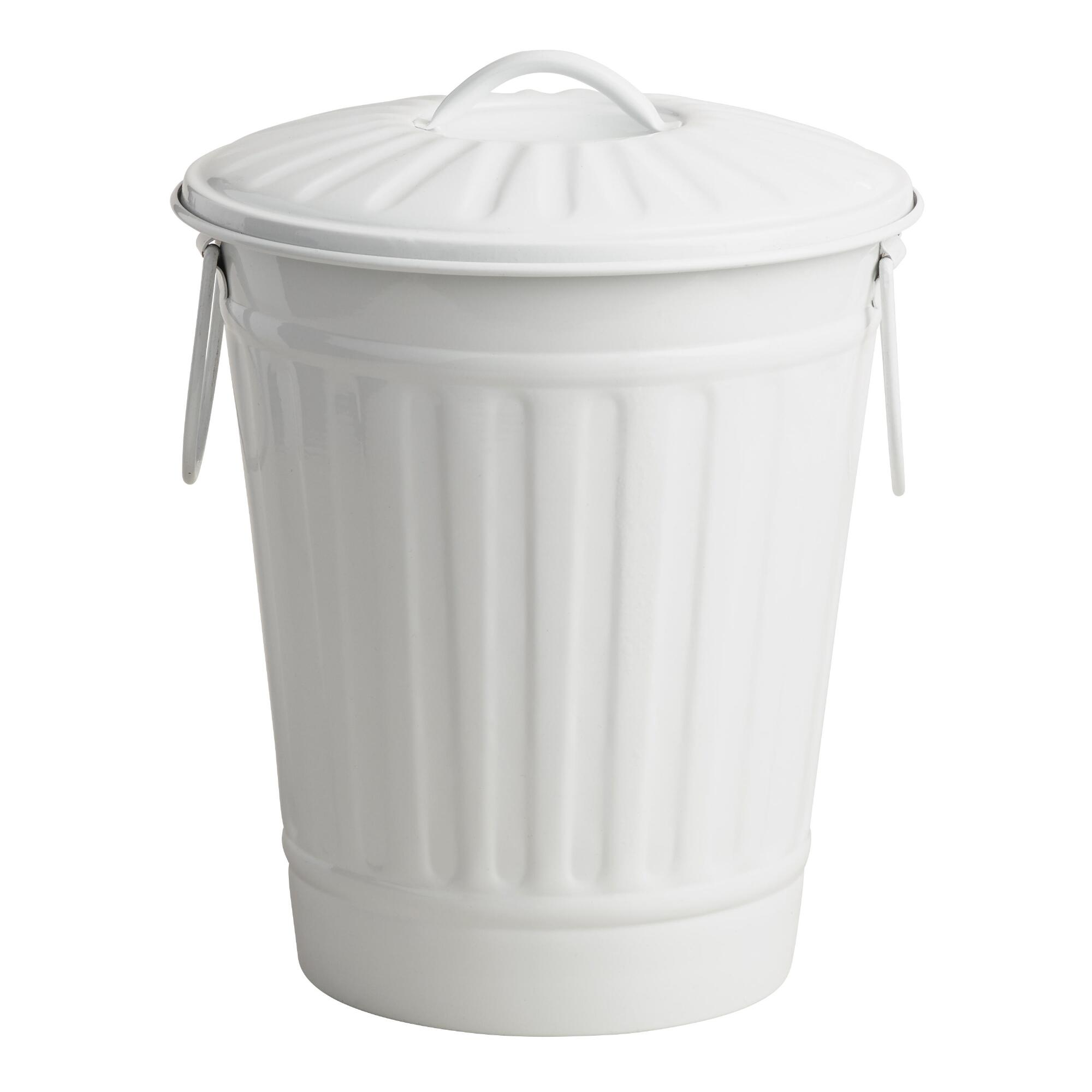 Large Matte White Retro Metal Trash Can World Market