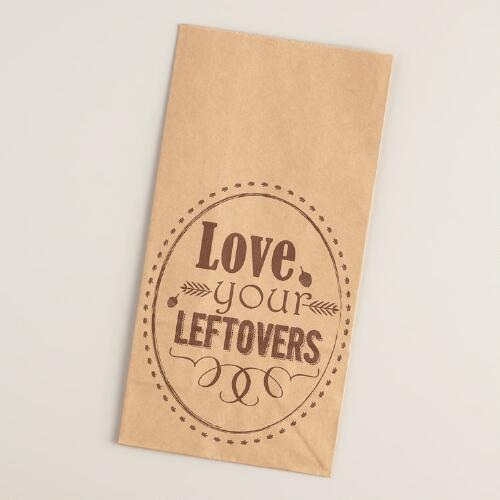 """""""Love Your Leftovers"""" Paper Lunch Bags, 12-Count"""