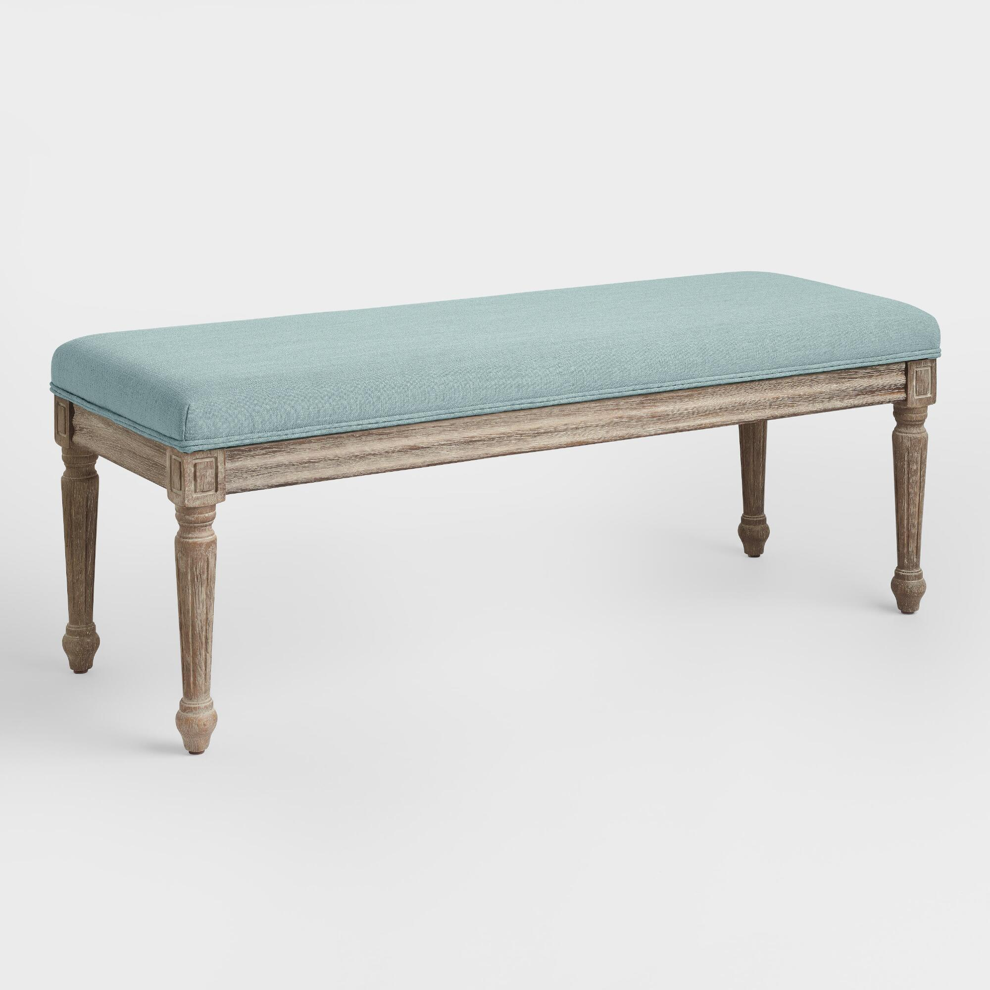 Blue linen paige upholstered dining bench world market for Dining room upholstered bench
