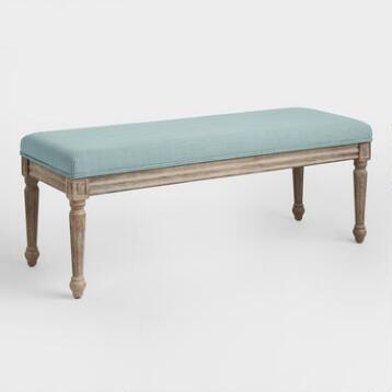 Blue Linen Paige Upholstered Dining Bench