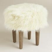Natural Flokati Stool