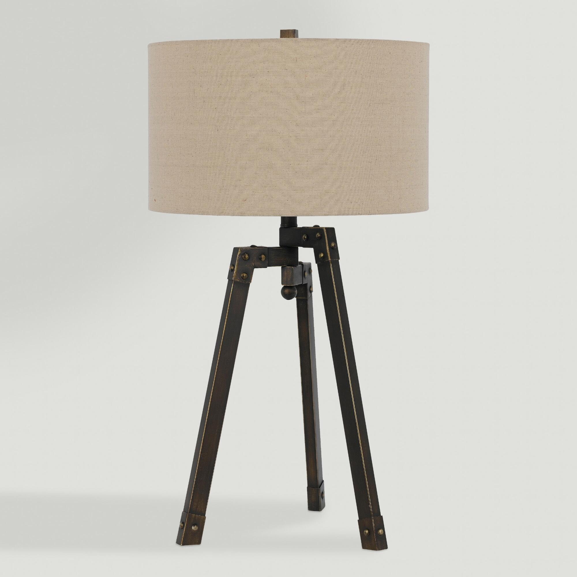 Industrial Coffee Table Lamp: Iron Industrial-Style Langston Tripod Table Lamp