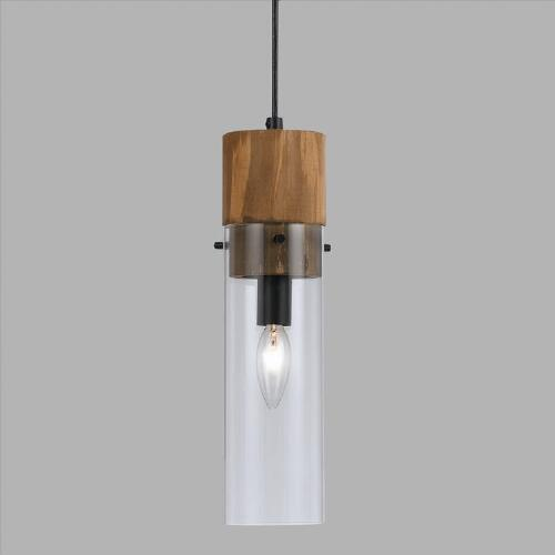Wood and Glass Pendant Lamp