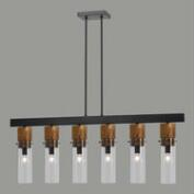 Wood and Glass 6-Light Pendant Lamp