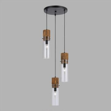 Wood and Glass Staggered 3-Light Pendant Lamp