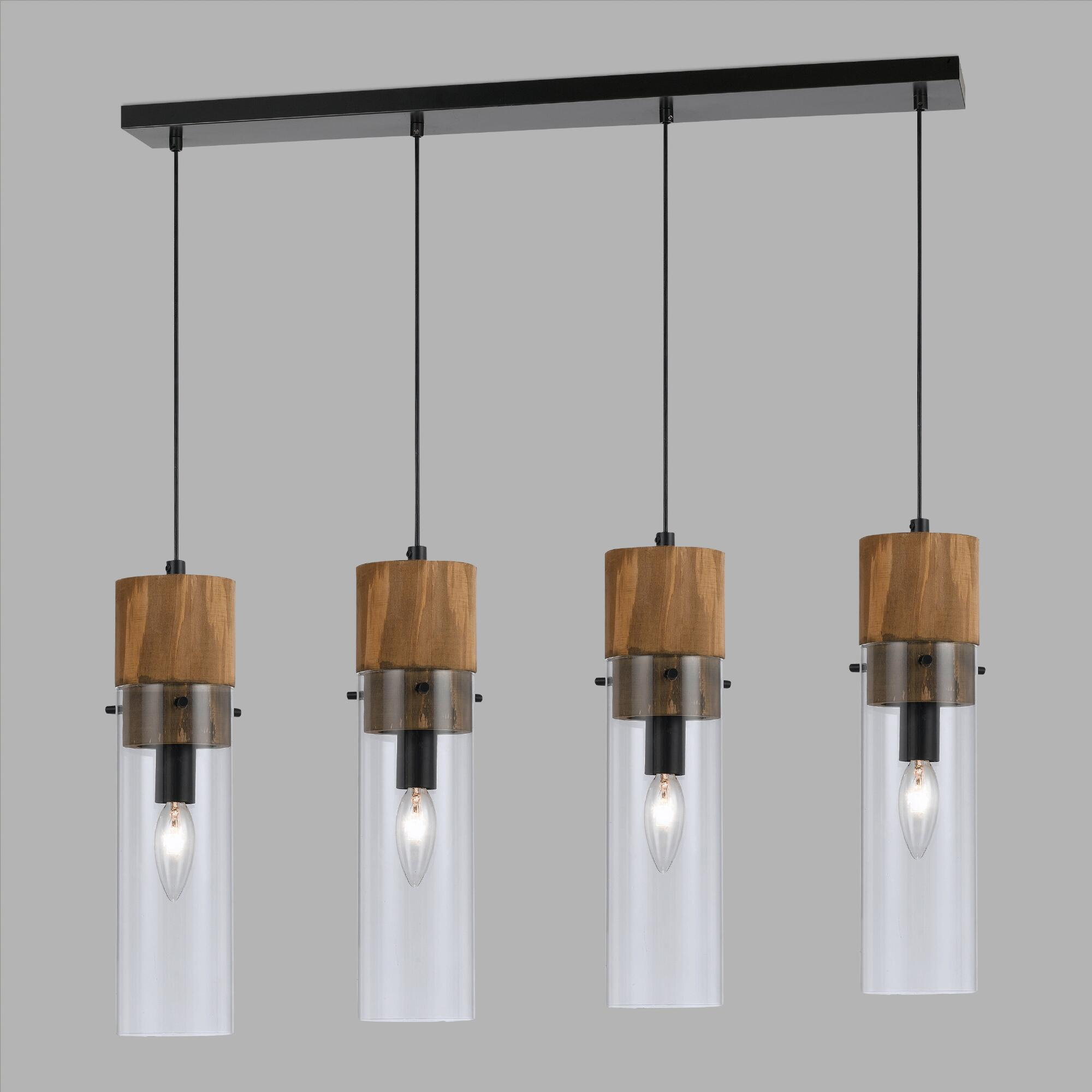 Wood And Glass 4-Light Pendant Lamp