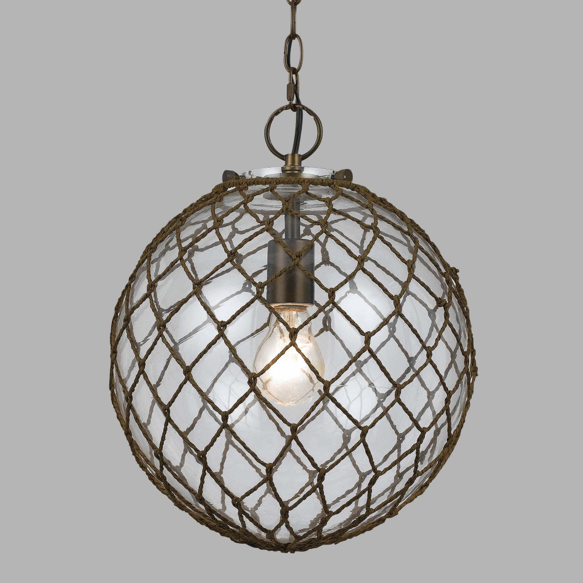 Hanging Light Round: Round Rope-Wrapped Bubble Glass Burnett Pendant Lamp