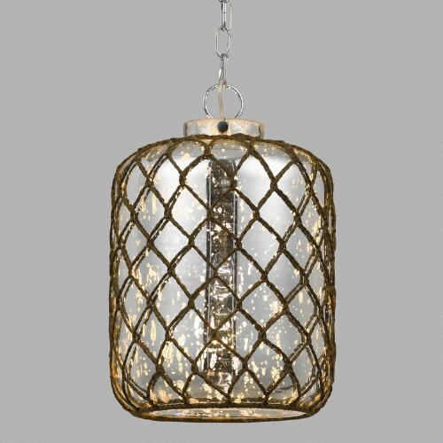 Cylinder Rope-Wrapped Bubble Glass Burnett Pendant Lamp
