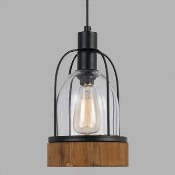 Wood and Glass Industrial-Style Pendant Lamp
