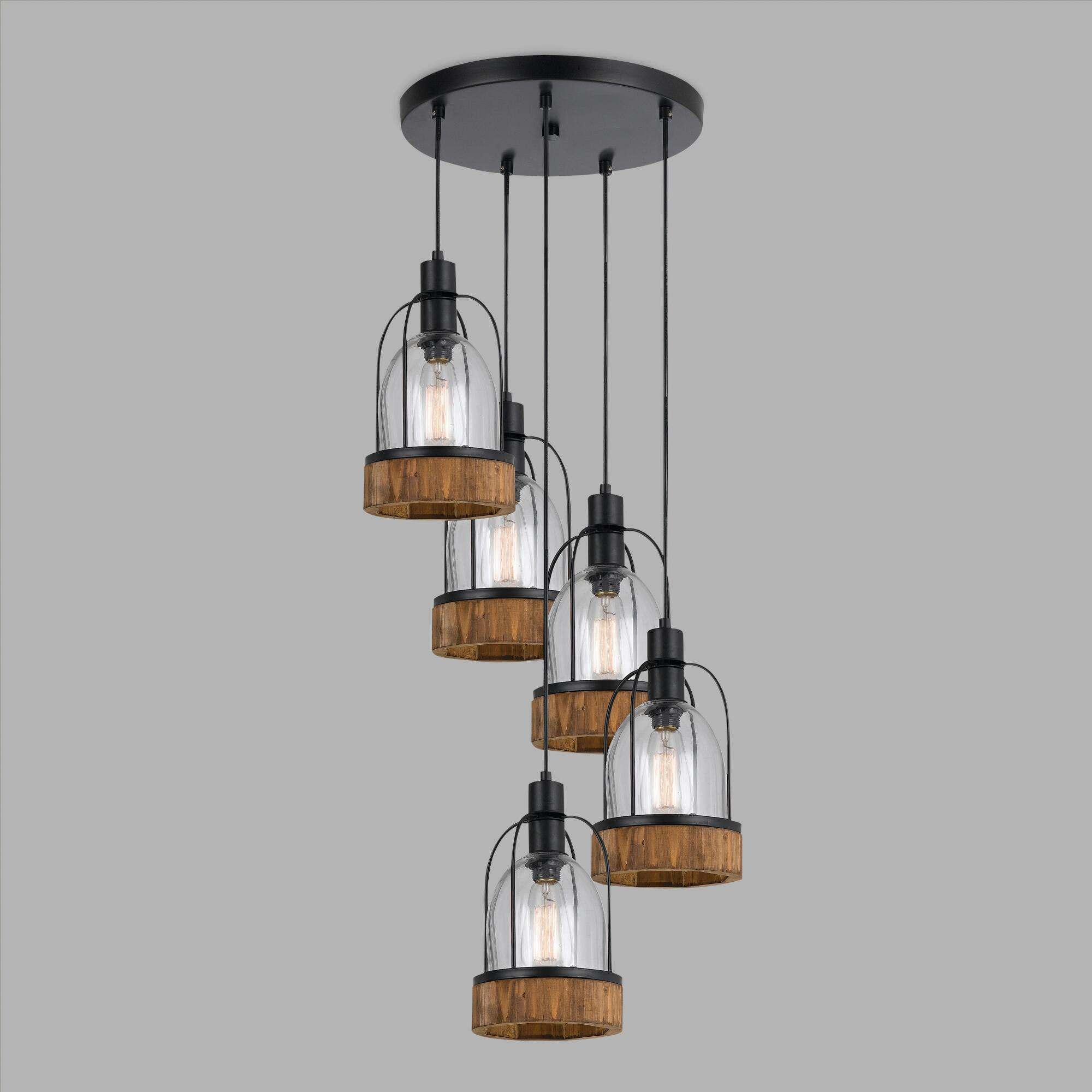 Wood And Glass Industrial Staggered 5 Light Pendant Lamp
