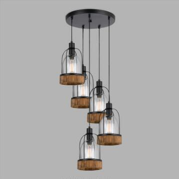 Wood and Glass Industrial Staggered 5-Light Pendant Lamp