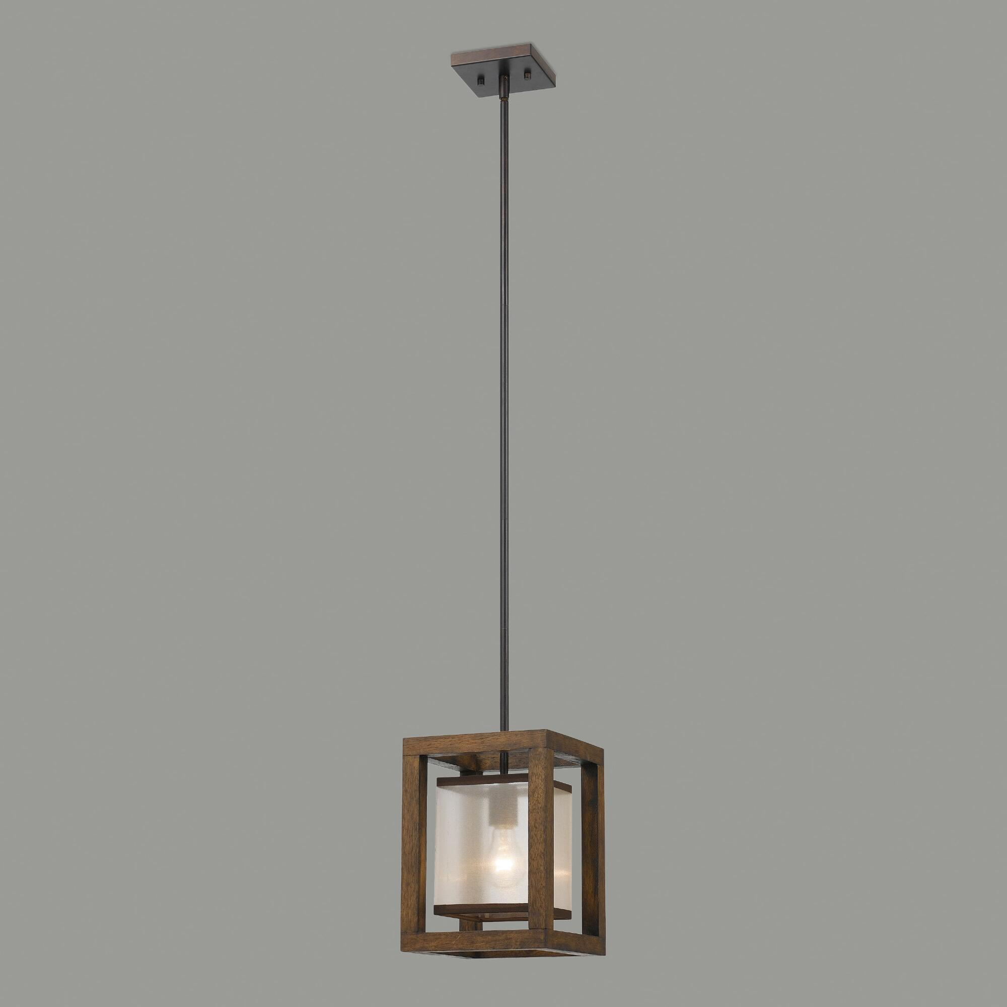Wood and metal mission pendant lamp world market for Metal hanging lights