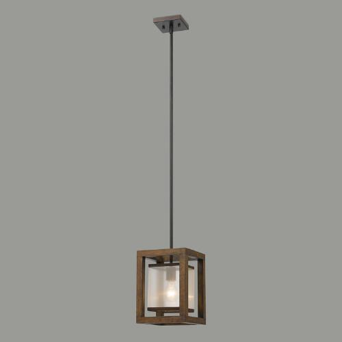 Wood and Metal Mission Pendant Lamp