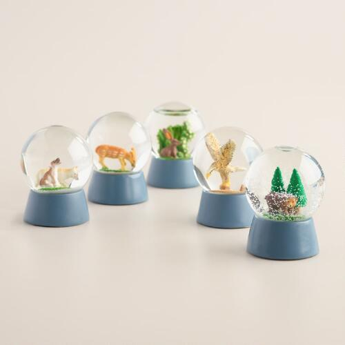 Woodland Creature Snow Globes, Set of 5