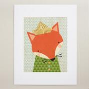 Large Shy Fox Print on Wood Wall Art