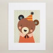 Large Party Bear Print on Wood Wall Art