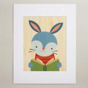 Large Reading Rabbit Print on Wood Wall Art