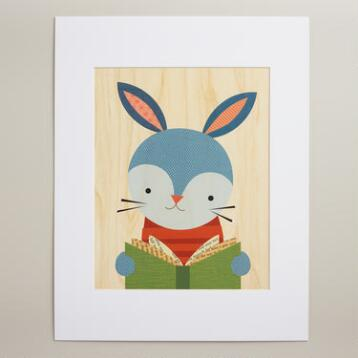 Large Reading Rabbit Wall Art