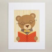 Large Story Bear Print on Wood Wall Art
