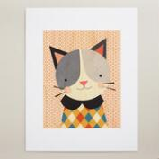 Large Hip Cat Print on Wood Wall Art
