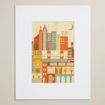 Small New York Print on Wood Wall Art