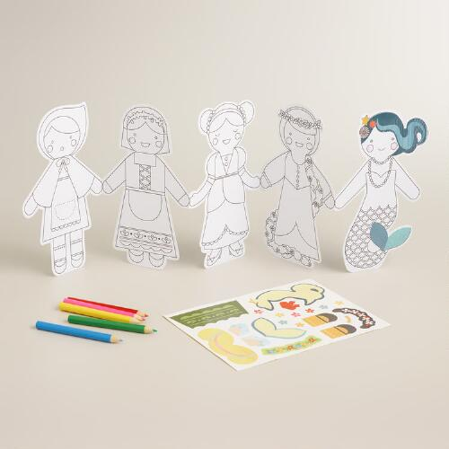 Create and Color Fairy Tale Paper Doll Chain