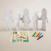 Create and Color Robot Paper Doll Chain