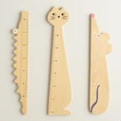 Wild Wood Animal Rulers, Set of 3
