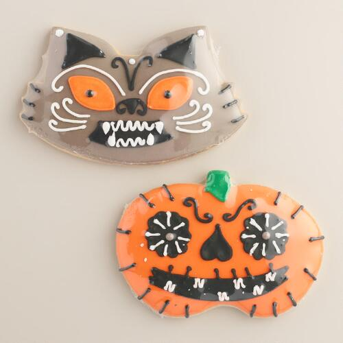 Monaco Pumpkin and Cat Cookies, Set of 2