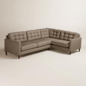 Textured Woven Ryker Left-Facing Upholstered Sectional