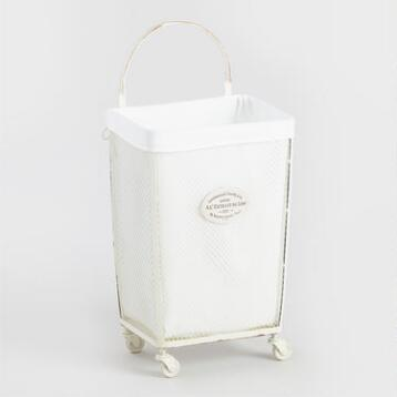 White Metal Marcie Laundry Cart