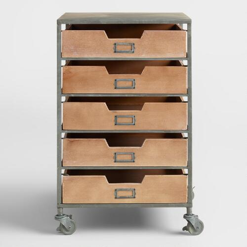 Wood and Metal 5-Drawer Frederick Rolling Cart
