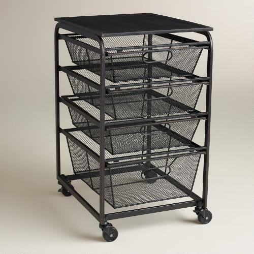 Espresso Wire 4-Drawer Fiona Rolling Cart