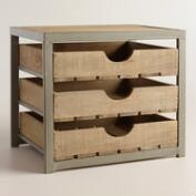 Wood and Metal Sebastian 3-Drawer File