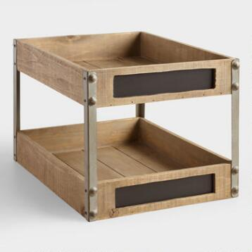 Wood and Metal Sebastian 2-Level Tray