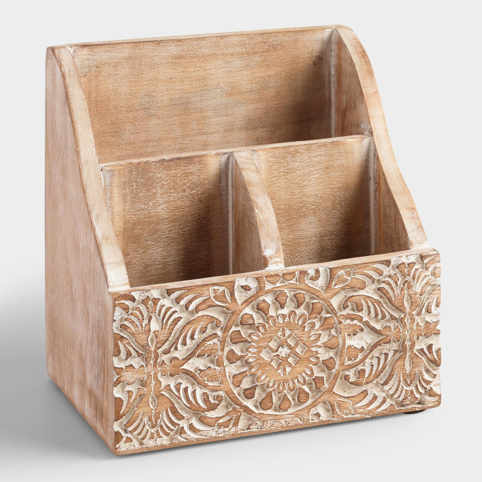 Mini Hand Carved Wood Gianna Desk Organizer World Market