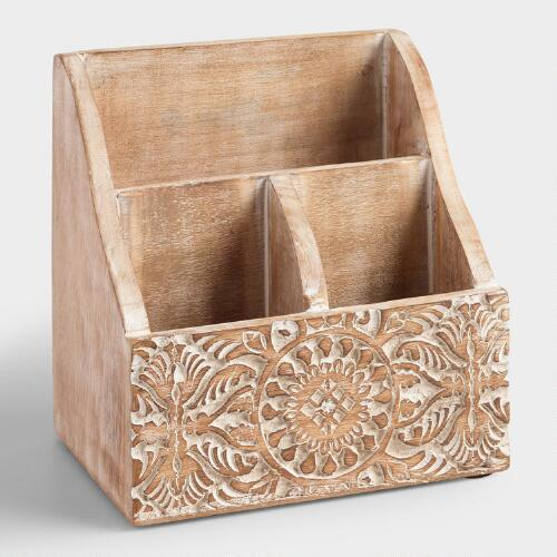Mini Hand-Carved Wood Gianna Desk Organizer