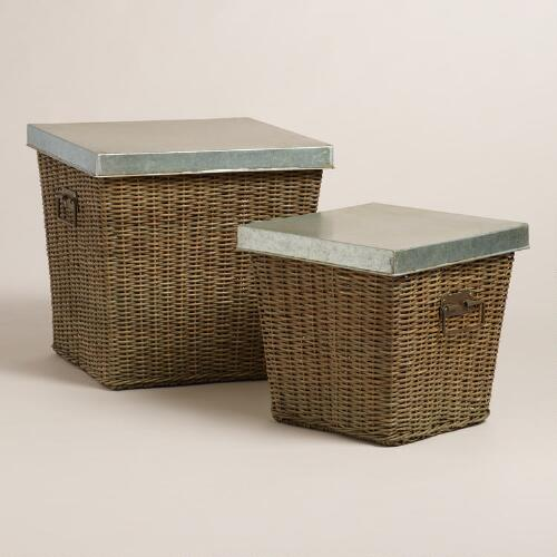 Rattan and Metal Gino Baskets with Lid