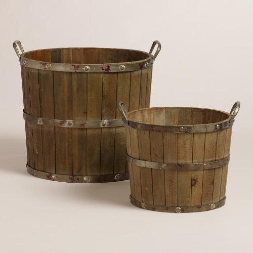 Wood and Metal Sebastian Tote Baskets