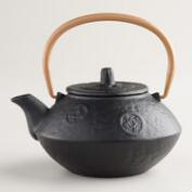 Black Cast Iron Teapot with Brass Handle