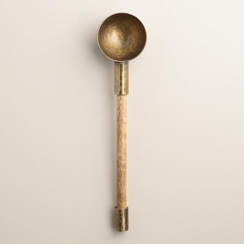 Antique Brass and Wood Coffee and Tea Scoop