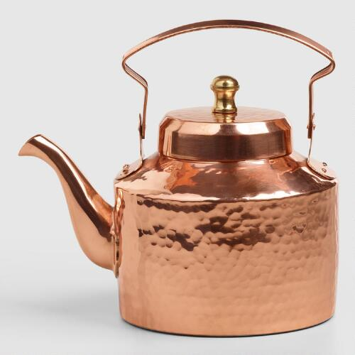 Mini Hammered Copper Teakettle