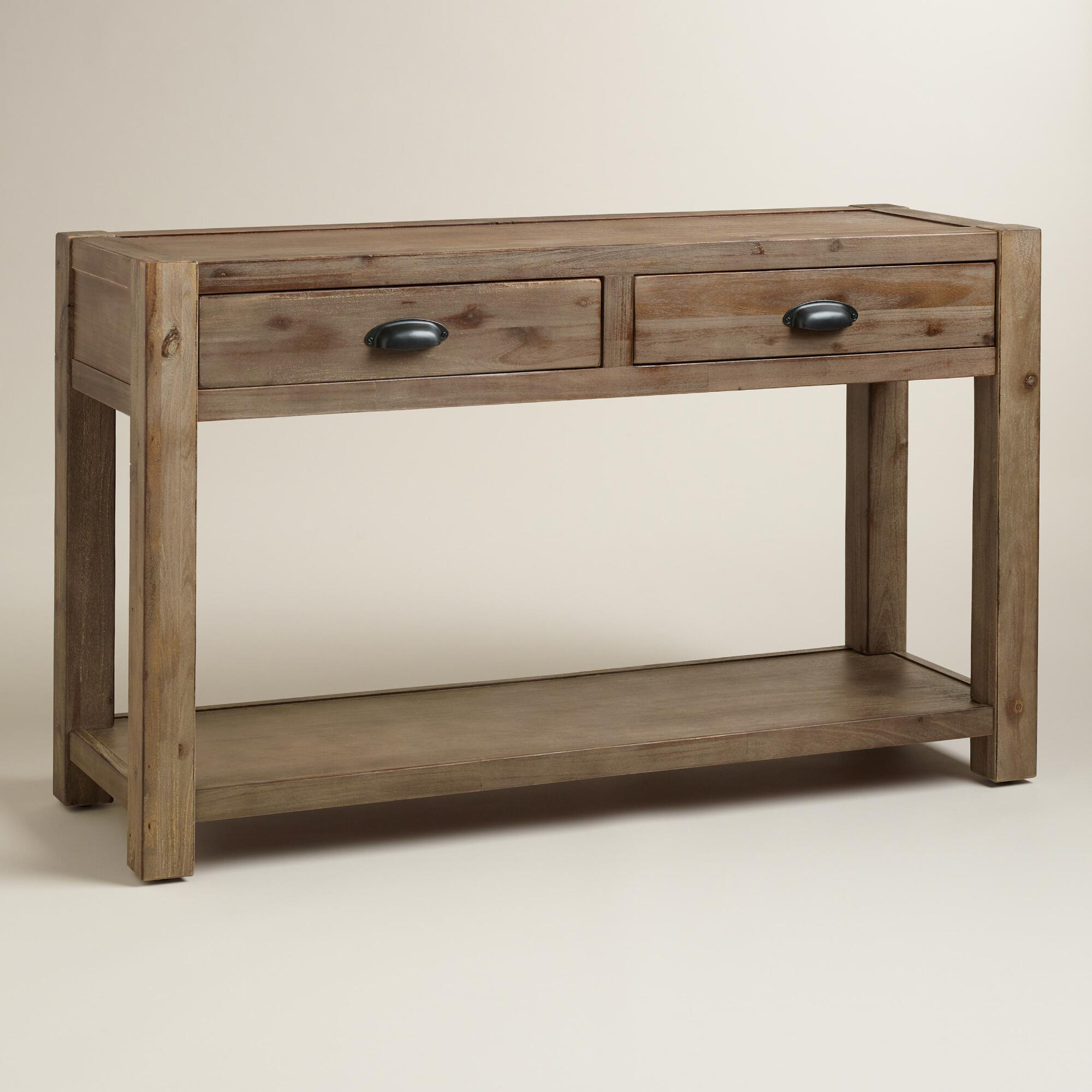 Console Table Woodworking ~ Wood quade console table world market